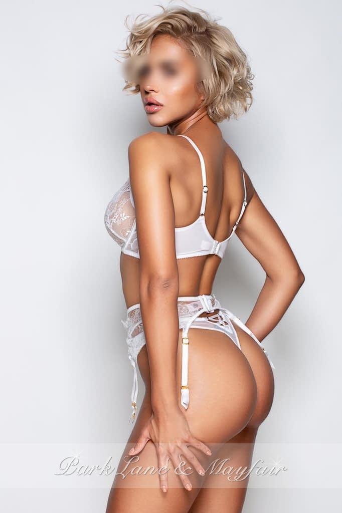 Ashley in her white designer underwear set