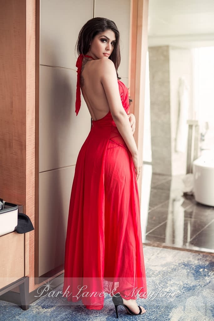 Top escort Alison in a beautiful long red dress