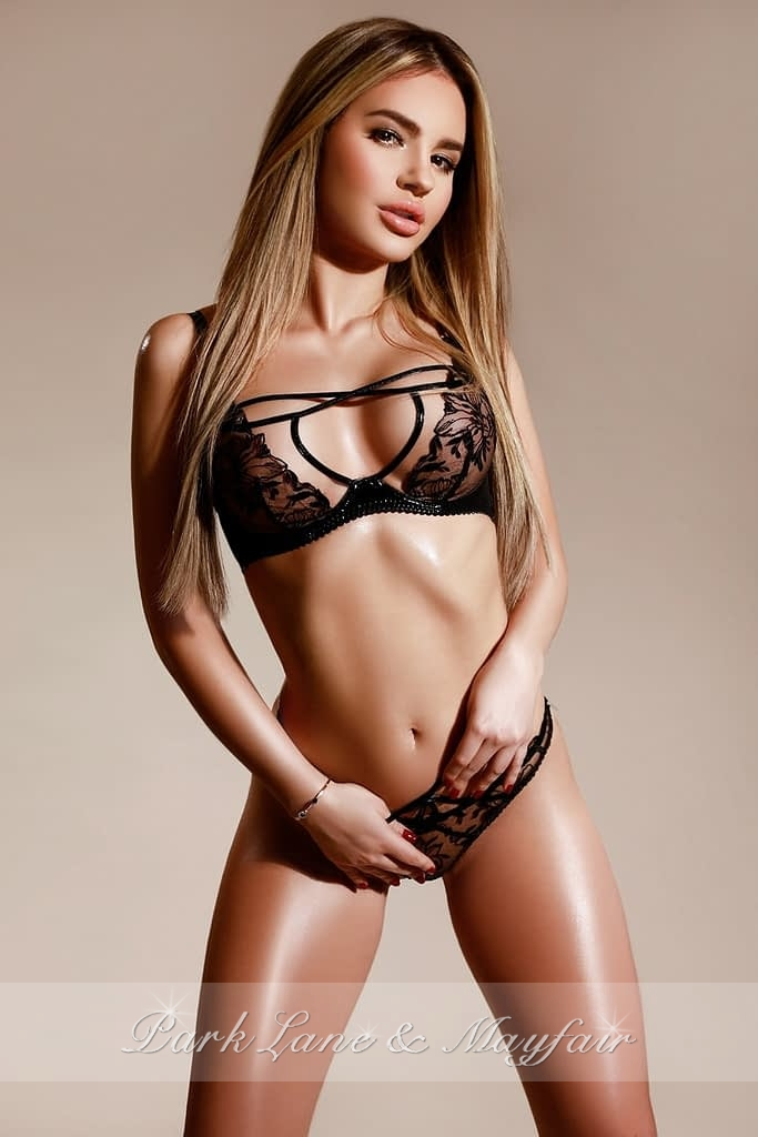 Model Jules with her slim toned body and long hair