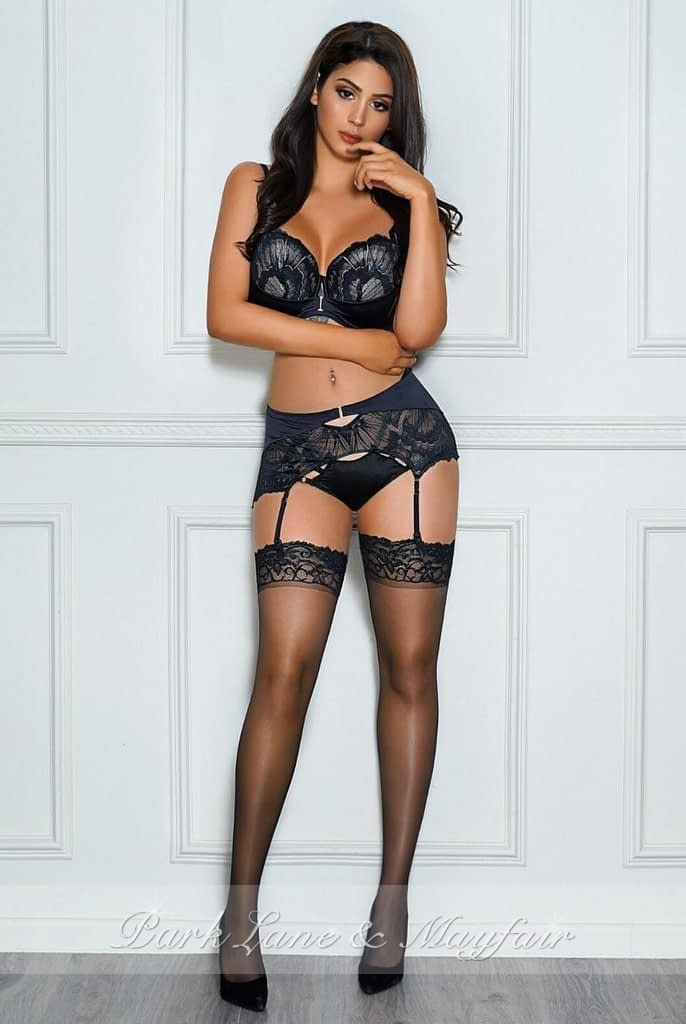 Alison in her sexy black lingerie and stockings