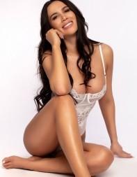High class agency girl Ellie in her white lingerie.
