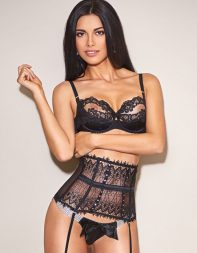 Stunning brunette escort Jayne in black designer lingerie - Eastern European escort in Kensington, Central London, Westminster