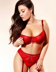 Elite London escort Etta in red lingerie