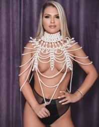 Call-girl June is super hot in her sexy pearl lingerie