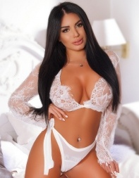 Busty escort Keeley in white negligee - Eastern European escort in Knightsbridge, Belgravia, South Kensington