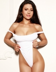 Eastern European escort Kenya in white swimsuit - Eastern European escort in Marylebone, Baker Street, Central London