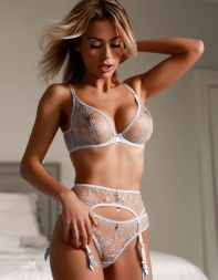 Petite blonde escort in London Thea in her kinky designer lingerie. - European escort in Mayfair, West End