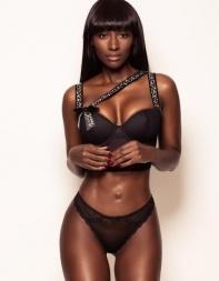 Black escort Natalia in designer lingerie