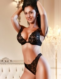 Elite London escort Mary in her black lingerie set.