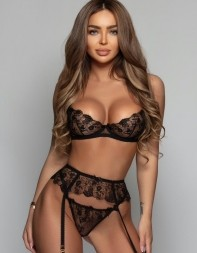 Model Gisella posing for the camera in her sexy and expensive black lingerie