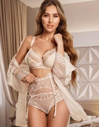 Candice in her white lingerie and robe - Russian escort in Victoria, Westminster, Belgravia